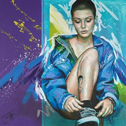His Jacket by Jen Allen -  sized 30x30 inches. Available from Whitewall Galleries